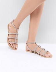 Faith Jord Embellished Flat Sandals - Beige