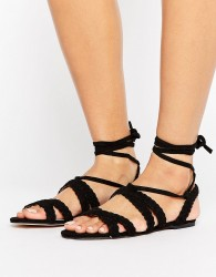 Faith Jude Braid Tie Up Sandals - Black