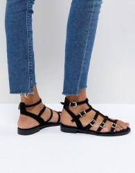 Faith Julian Black Flat Gladiator Sandals - Black