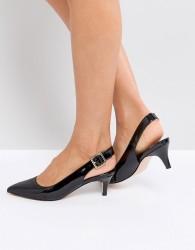 Faith Kitten Heel Shoe in Black - Black