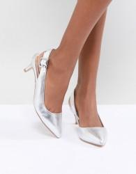 Faith Kitten Heel Shoe in Silver Metallic - Silver