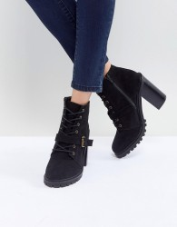 Faith Lace Up Mid Height Hiker Boot - Black