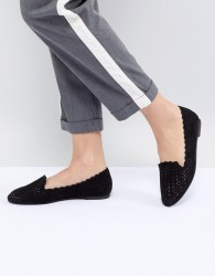 Faith Lasercut Flat Shoes - Black