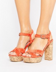 Faith Leela Platform Heeled Sandals - Orange