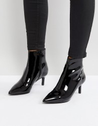 Faith Patent Ankle Boot in Black - Black