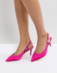 Faith Pink Satin Kitten Heeled Shoes - Pink