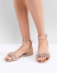 Faith Pyramid Rose Gold Stud Flat Sandals - Gold