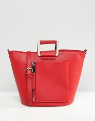 Faith Red Tote Bag With Front Zip Pocket - Red