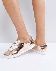Faith Rose Gold Lace Up Trainers - Gold