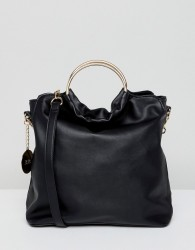 Faith Slouch Tote Bag With Circle Handle - Black