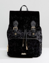 Faith Velvet Double Buckle Backpack - Black