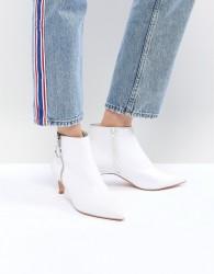 Faith White Zip Detail Peg Heeled Ankle Boots - White