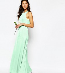 Fame and Partners Asleigh Maxi Dress With Open Back And Side Splits - Green
