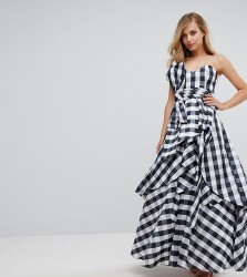 Fame and Partners Bardot Maxi Prom Dresswith Tie Bow Front - Multi