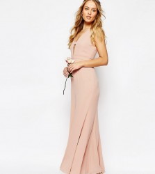 Fame and Partners Everland Maxi Dress with Fishtail - Pink