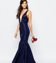 Fame and Partners Modern Dream Fishtail Maxi Dress - Navy