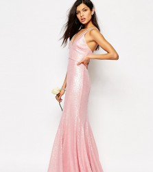 Fame and Partners Shimmer Soul All Over Sequin Maxi Dress - Pink