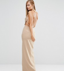 Fame and Partners Sleek Maxi Dress with Faux Pearl Back - Beige
