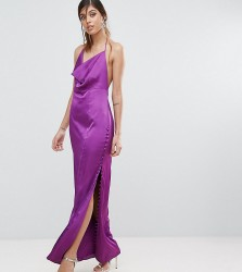 Fame and Partners Straight Gown with Button Detailing - Purple