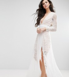 Fame And Partners Tall Laced Heaven Maxi Dress With Split - White