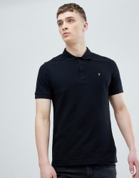 Farah Blaney Pique Polo Slim Fit in Black - Black