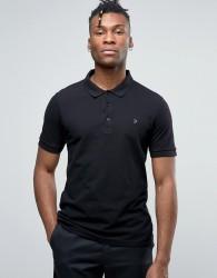 Farah Blaney Pique Polo Slim Fit in Black - Black