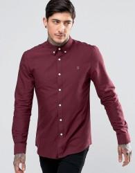 Farah Brewer Oxford Shirt Slim Fit Buttondown in Bordeaux - Red
