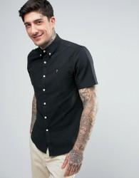 Farah Brewer Short Sleeve Shirt Oxford Slim Fit Buttondown in Black - Black