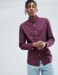 Farah Brewer Slim Fit Oxford Shirt In Purple - Purple