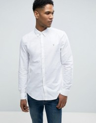 Farah Brewer Slim Fit Oxford Shirt In White - White