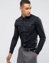 Farah Classic Shirt In Skinny Fit With Stretch - Black