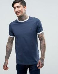 Farah Groves Ringer T-Shirt Slim Fit in Navy/Ecru - Navy