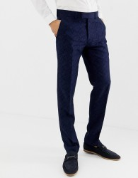 Farah Hookstone party skinny suit trousers in floral jacquard - Navy