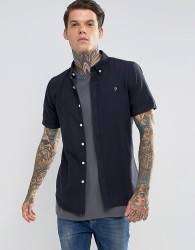 Farah Long Sleeve Slim Shirt - Navy