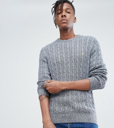 Farah Ludwig Twisted Yarn Cable Knit Jumper in Navy Fleck - Navy