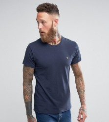 Farah Muscle Fit T-Shirt with F Logo in Navy - Navy