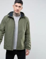 Farah Newbern Nylon Zip Through Hooded Jacket in Green - Green