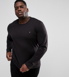 Farah PLUS Farris Slim Fit Long Sleeve T-Shirt in Black - Black