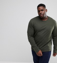Farah PLUS Farris Slim Fit Long Sleeve T-Shirt in Green - Green