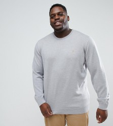 Farah PLUS Mullen Slim Fit Merino Jumper in Light Grey - Grey