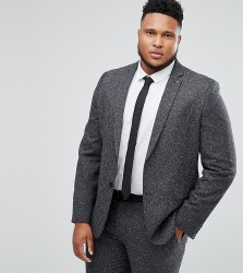 Farah PLUS Skinny Suit Jacket In Fleck - Grey