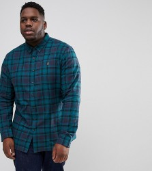 Farah PLUS Waithe Slim Fit Check Shirt in Navy - Navy