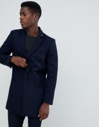 Farah Portobello wool mix overcoat in true navy - Navy