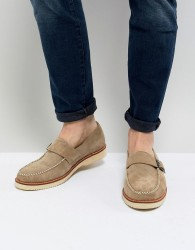 Farah Ramone Suede Monk Shoes With Chunky Sole - Beige