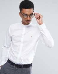 Farah Shirt With Grandad Collar In Slim Fit With Stretch - White