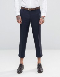 Farah Skinny Cropped Flannel Trousers - Navy
