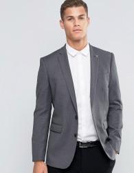 Farah Skinny Dogtooth Blazer - Grey