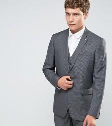 Farah Skinny Dogtooth Suit Jacket - Grey