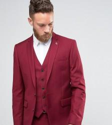 Farah Skinny Suit Jacket In Burgundy - Red