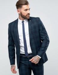 Farah Skinny Suit Jacket In Check - Green